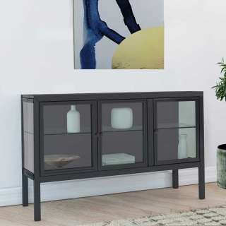 Metall Sideboard mit Glastüren Schwarz lackiert
