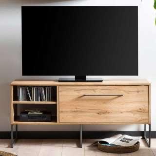 Fernsehunterschrank in Eichefarben & Anthrazit DVD Fächern
