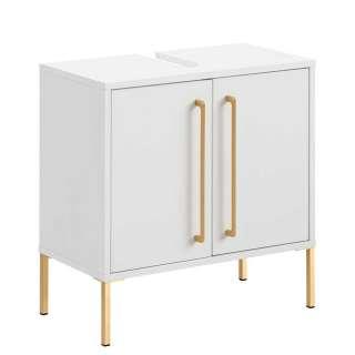 Waschbeckenschrank in Weiß & Gold Metall Vierfußgestell