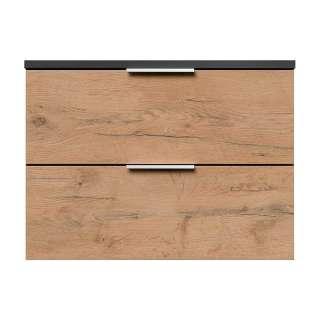 Garderoben Hängeschrank in Dunkelgrau und Holzoptik Eiche zwei Schubladen