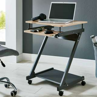 EDV Tisch in Anthrazit und Eiche Optik Tastaturauszug