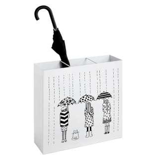 Schirmständer in Weiß und Schwarz Motivdruck