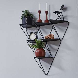 Dreieckiges Regal aus Metall Schwarz