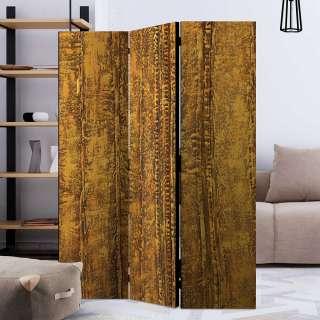 Umkleidewand in Goldfarben Leinwand und Fichtenholz