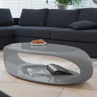Hochglanz Couchtisch in Grau ovaler Tischplatte