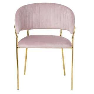 Schlafzimmerstuhl Samt in Rosa Metall Goldfarben