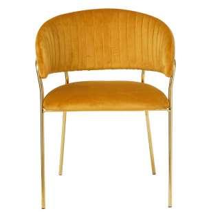 Samt Stuhl im Retrostil Goldfarben und Gelb