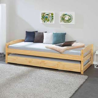Ferienhaus Bett aus Kiefer Massivholz 2 Liegeflächen