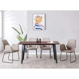 Essplatzgruppe Bezüge aus Kunstwildleder Tischplatte Nussbaumfarben (fünfteilig)