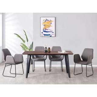 Esszimmermöbelset Tisch mit Hairpin Gestell Bezüge aus Kunstwildleder (fünfteilig)