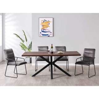 Komplette Essgruppe in Braun Schwarz Dunkelgrau vier Stühle (fünfteilig)