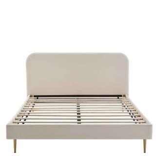 Samt Bett in Beige Vierfußgestell aus Metall Goldfarben