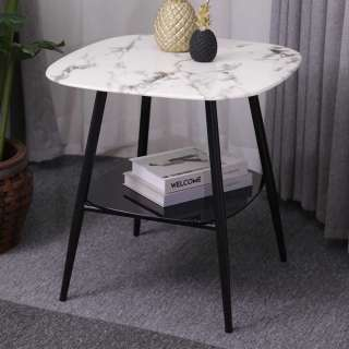 Retro Beistelltisch Glasplatten Marmoroptik und Schwarz