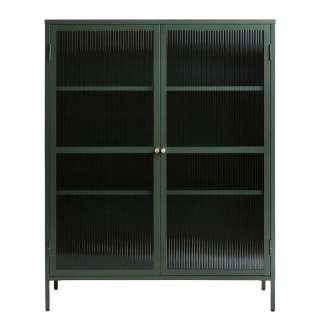 Vitrine Grün mit Rippenglas Türen Metall Oberfläche pulverbeschichtet