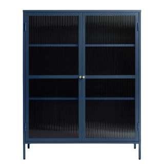 Vitrinenschrank aus Rippenglas und Metall Blau