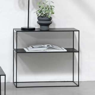 Konsolen Tisch schwarz mit Bügelgestell Metallplatte