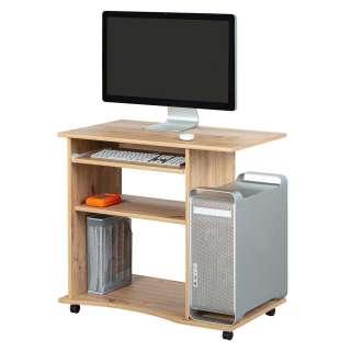 Bürotisch rollbar für Home Office Wildeiche Optik