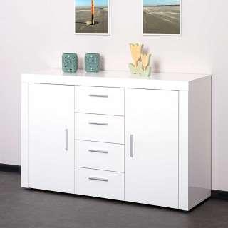 Esszimmersideboard Weiß Hochglanz 4 Schubladen