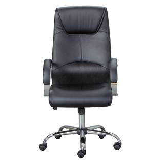 Chef Sessel mit Kunstlederbezug in Schwarz Gestell aus Metall