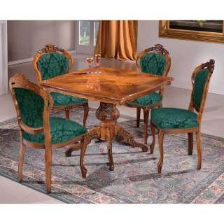 Essgruppe 4 Stühle im Barockstil Nussbaumfarben und Grün (fünfteilig)