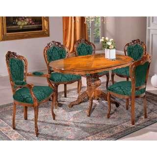 Stilmöbel Sitzgruppe in Grün und Nussbaumfarben Schnitzereien (sechsteilig)