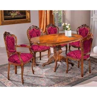 Stilmöbel Essgruppe in Rot und Nussbaumfarben 5 Sitzplätzen (sechsteilig)