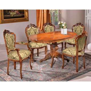 Tischgruppe barock mit hoher Lehne fünf Stühle (sechsteilig)