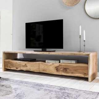 Fernsehunterschrank mit natürlicher Baumkante Akazie Massivholz