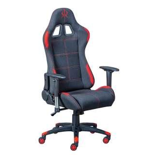 Gaming Schreibtischstuhl in Schwarz und Rot Liegefunktion