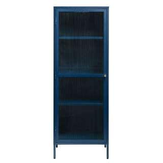 Moderner Vitrinenschrank in Blau Metall mit Glastür