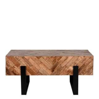 Designercouchtisch aus Mangobaum Massivholz Metall Bügelgestell