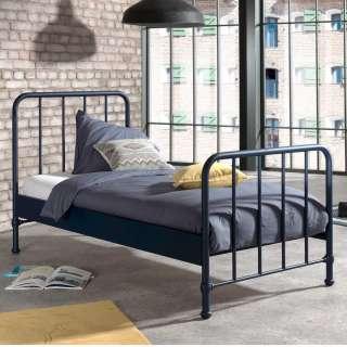 Retro Einzelbett aus Metall Blau pulverbeschichtet