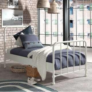 Retro Einzelbett aus Metall Weiß pulverbeschichtet