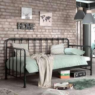 Retro Einzelbett aus Eisen Schwarz pulverbeschichtet