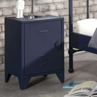 Retro Nachttisch aus Eisen Blau pulverbeschichtet