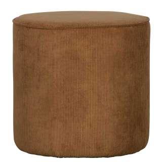 Runder Sitzpouf in Honigfarben Cord Bezug