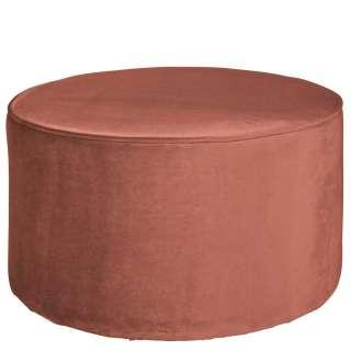 Samt Sitzpouf in Altrosa runder Form