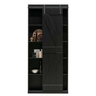 Schwarzer Schiebetürenschrank aus Kiefer Massivholz modernem Design