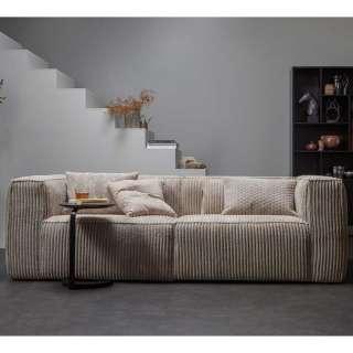 Breitcord Sofa in Beige 46 cm Sitzhöhe