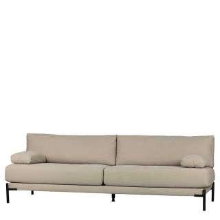 Canvas Dreisitzer Sofa in Beigegrau und Schwarz Gestell aus Metall
