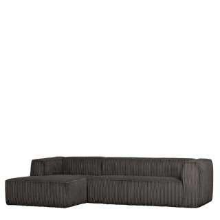 Sofa Eckgarnitur in Dunkelgrau Breitcord Bezug
