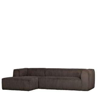 L Sofa in Cord Schlammfarben vier Sitzplätzen