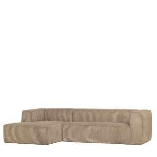 Wohnzimmer Sofa L Form in Beige Breitcord Bezug