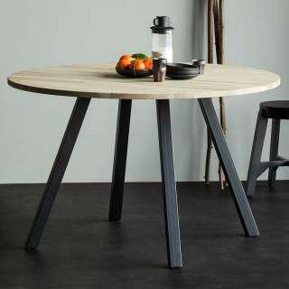 Runder Tisch für Esszimmer Eiche Massivholz & Metall