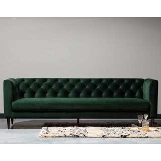 Sofa Dreisitzer in Dunkelgrün Samt Vintage Look