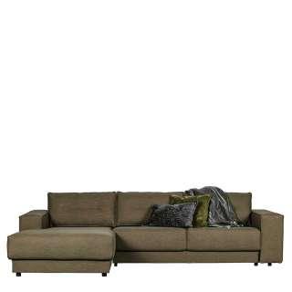 Wohnzimmercouch in L Form Stoffbezug Graugrün