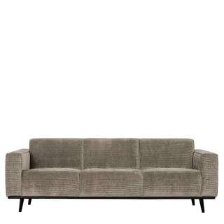 Cordbezug Sofa in Graubraun Vierfußgestell aus Holz schwarz