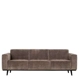 Cord Sofa in Taupe Vierfußgestell aus Holz