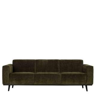 Moderne Couch in Dunkelgrün und Schwarz Cord Bezug