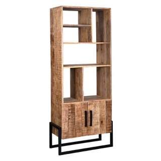 Industry Bücherregal aus Mangobaum Massivholz geölt und Metall 190 cm hoch